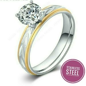 Titanium Steel Gold and Silver Women Ring